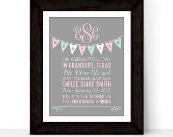 personalized nursery wall art decor prints, birth stats wall art canvas, baby girl room decor, custom baby gift ideas, pink mint gray