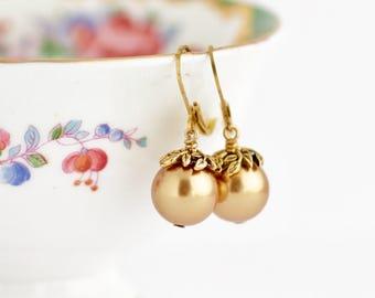 Leaf Topped Gold Earrings - Gold Pearl Earrings - Pearl Earrings - Wedding Earrings - Bridesmaid Earrings - Dangle Earrings - Bridal Jewelry