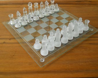 Glass Chess Set. Small Glass Chess Play. Vintage Board Game. Glass Chess Set Game. Vintage Table Game