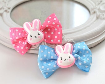 SALE 40% Last pair Hair Clips set of 2  kawaii fairy kei lolita accessory white bunny rabbit kanzashi PINK blue