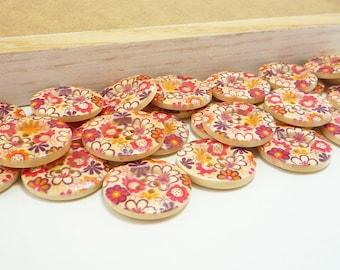 Wood Sewing Buttons, Craft button, Retro, Flower Design (25mm 6pcs set)