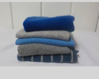 Upcycled Felted Cashmere Sweater Pieces - Blues and Grays