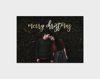 Christmas Card Template Gold Faux Foil Script