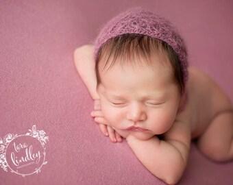Newborn  Girl Mauve Bonnet ,Mauve Photo Props  Bonnet  ,Newborn Girl Photo Prop Bonnet
