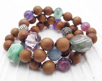 beauty gift, sandalwood bracelet, gemstone bracelet, boho bracelet, mixed gemstone bracelet, stacking bracelet, fragrant sandalwood