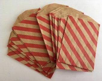 "Sale 50 Mini Paper Treat Bags - Red diagonal stripes - 2.75""x4"" Brown Kraft Paper"