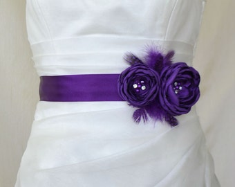 Deep Purple Bridal Belt, Purple Bridal Sash, Floral Bridal Belt, Purple Bridesmaids Sash Belt, Purple Flower Wedding Dress Belt