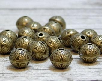 9x8mm - Metal Beads - Bronze Beads - Metal Spacers - Spacer Beads - Tribal Beads - 20pcs - (363)
