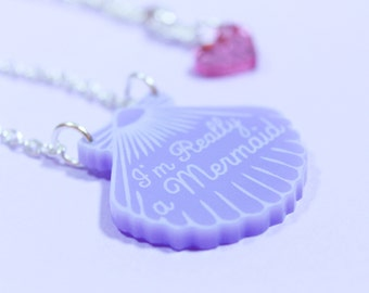 Purple shell Necklace. mermaid necklace.gifts for her. Mermaid Jewelry. gifts for mermaids. little mermaid. beach jewelry. handmade necklace