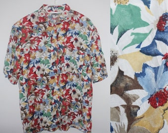 Vintage 70s Floral T Shirt Abstract Print Flower Pullover Top Womens  Medium Short Sleeve T-shirt White Red Green Spring Summer Tshirt