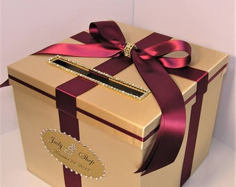 Wedding Card Box Gold and Burgundy Gift Card Box Money Box Holder-Customize your color