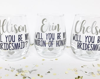 Will you be my bridesmaid wine glasses, Asking Bridesmaid, Bridesmaid Proposal Gift