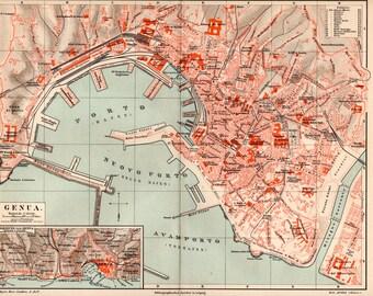 Antique genoa map Etsy