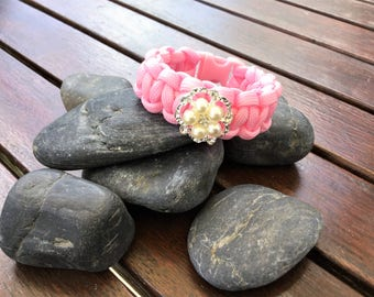 Girls paracord bracelet pink with rhinestone crystal button 16 cm - kids - friendship