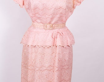 Vintage pink lace wiggle dress with peplum