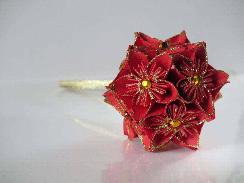 Happy Holidays Red Gold Origami Ornament Kusudama Flower