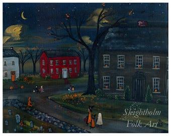 """Trick or Treat 8x10"""" PRINT halloween folk art"""