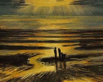 "Beach Ocean Summer Dog Sunset Original signed Acrylic Painting square 4""x 4""x 1.5"""
