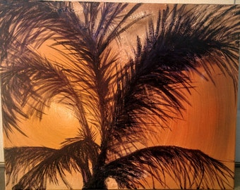Sunset Palm Tree Silhouette Oil Painting