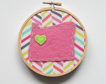 Custom State Embroidery Hoop Ornament with Pink Chevron Fabric