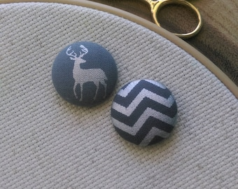 Needle Minder, Stag, Deer, Chevron, Silver, Gray, Scout and Remy 2 Piece Reversible Needleminder, for Cross Stitch, Sewing, Embroidery