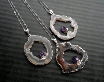 Double Gemstone Necklace Geode Amethyst Necklace Ocho Geode Purple Stone Jewelry Silver Edged Geode Silver Dipped Amethyst Stone Pendant