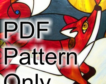 """24"""" x 18"""" PATTERN for Red Fox in the Blueberry Patch Stained Glass"""