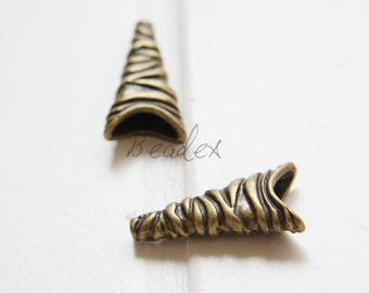 10pcs / Antique Brass Tone / Base Metal / Textured Cone (YB39529//C416)
