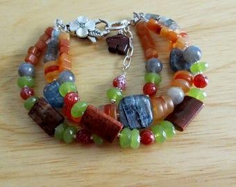 Triple-strand Earthy Kyanite and Multigemstone Bracelet Natural Stone Earth Tones