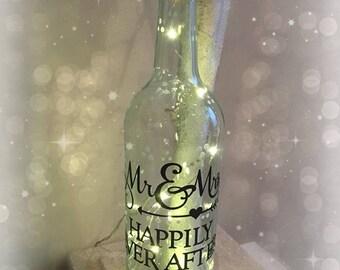 Mr & Mrs Wine Bottle Lamp / Fairy Light / Nightlight //Gift Ideas/ Wedding gift