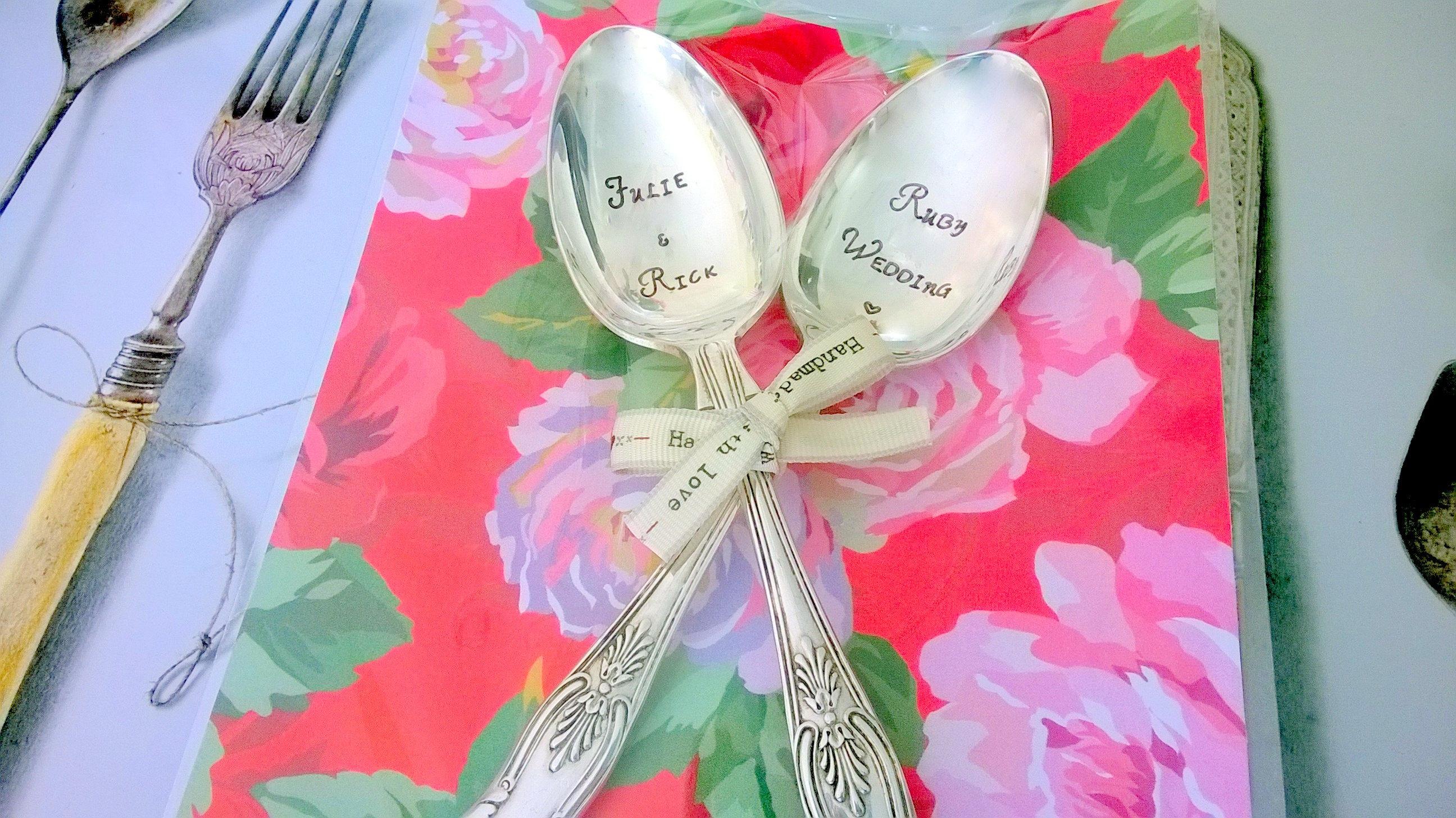 Anniversary Pair of Vintage Spoons Personalised Ruby