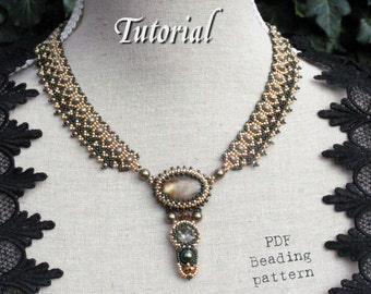Tutorial for beadwoven necklace 'Lady Sybil' - PDF beading pattern - DIY