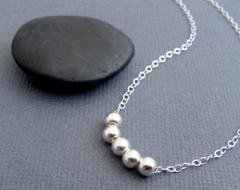simple silver necklace. sterling round bead. dainty. delicate. beaded. everyday minimalist jewelry. ready to ship gift