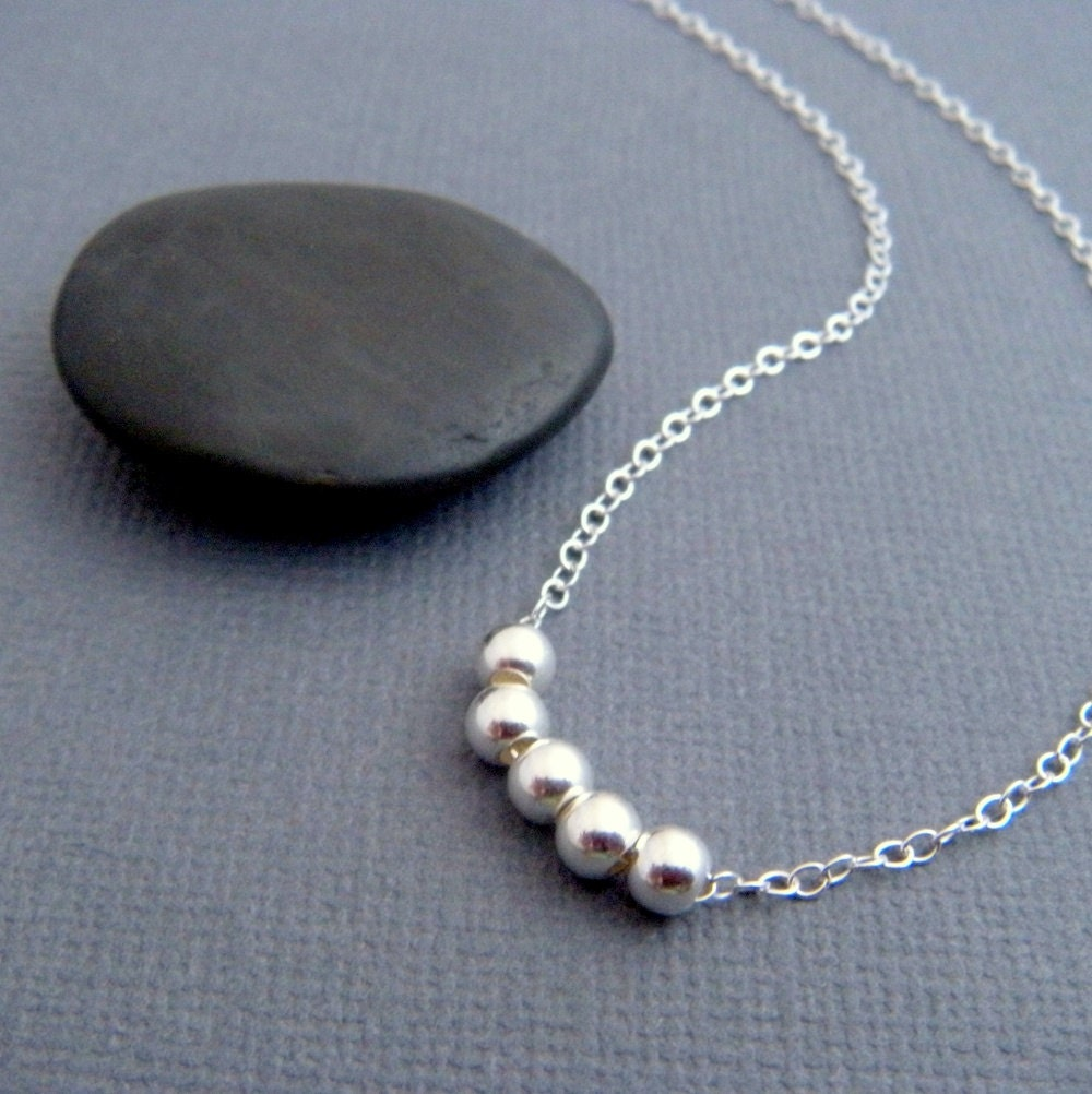 Simple Silver Necklace Sterling Round Bead Dainty Delicate
