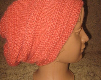 Angora Beanie, angora hat, autumn hat, knit hat, knitted hat, woman hat, girl hat, Slouchy hat, Hand Knit Hat