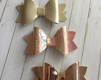 Faux Leather Hisr Bows, glitter hair bows set, girls hair clips, Easter hair clips, baby hair clips, baby shower gift, birthday gift