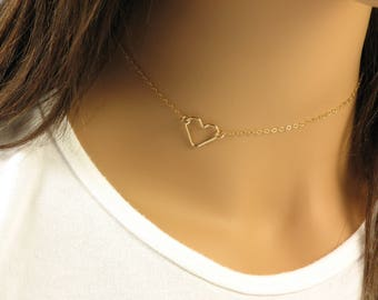 Heart Choker Necklace, Valentine's Necklace, Gold Choker, Silver Choker, Sideways Heart Dainty Choker, Understated Jewelry