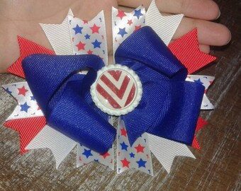 4th of july boutique bottle cap bow