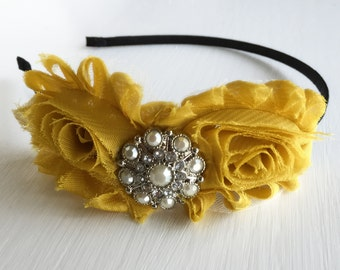 Hand Crafted Mustard Headband - Mustard Yellow - Old Gold Headband - Shabby Flower Headband - Adult Headband - Mustard Hair Piece - Bows