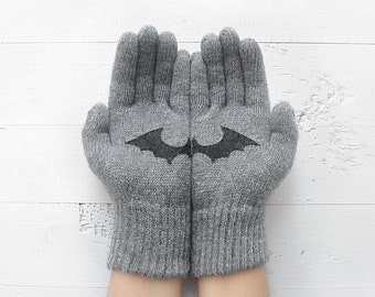 Bat Gloves, Winter Sale, Gift For Men, Boyfriend Gift, Bat Lover Gift, Men Gloves, Unisex Gloves, Gift For Her, Sale Gift, Gift For Friend
