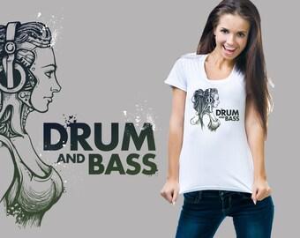 Drum & Bass Music T-Shirt Ladies Tee Woman Top Tshirt Shirt