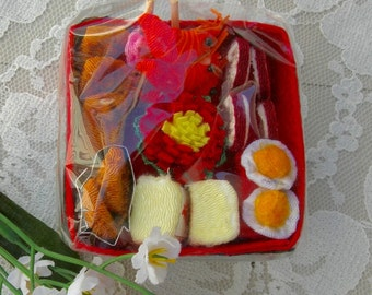 Adorable Fabric Bento Box, hand-crafted Japanese fabric sushi, rice, tempura, pickled veggies, collectible miniature