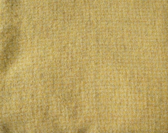 "Fat Eighth - Wool Fabric - Cornmeal Small Yellow Check Felted Wool Fabric- 100% Wool - 15-16"" x 13"""