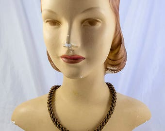 Extraordinary 1800s Victorian Intricate Woven Human Hair Mourning Necklace
