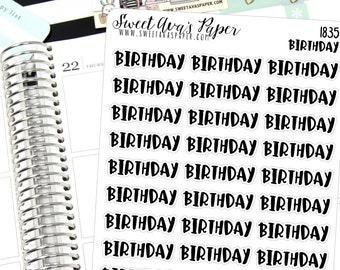 Birthday Planner Stickers - Script Planner Stickers - Lettering Planner Stickers - Typography Stickers - Party Planner Stickers - 1835