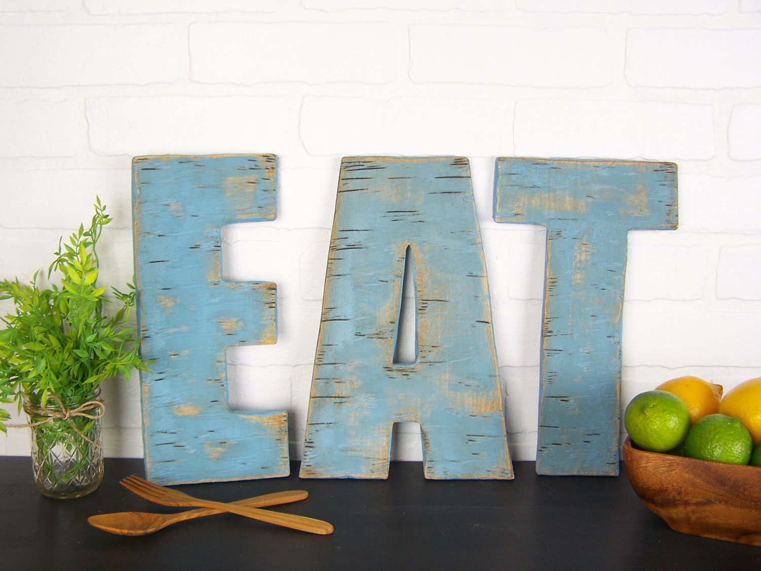 Rustic Eat Sign Wooden Letters Kitchen Farmhouse Decor Wood Wall Dining Room Restaurant