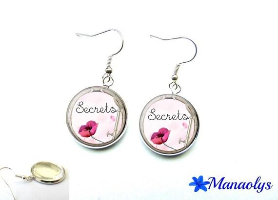 Flower Pink, secrets, 1559 glass cabochons earrings