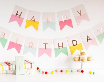 Happy Birthday Banner | First Birthday Party Pastel Birthday Banner Girl Birthday Sign Pink 1st Birthday Pastel Pink Birthday Decor Mint HRP