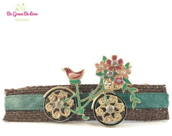 Vintage Bicycle / Bun Holders / Hair Fork / Bicycle Barrette / Hair Clip / Flower Barrette / Floral Barrette / Hair Forks