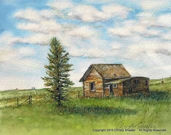 Weathered Old Place & Lone Pine Original Watercolor Landscape Painting Montana home decor Christy Sheeler ChristySheelerArtist